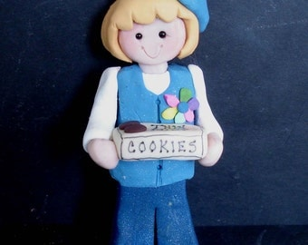 Daisy Girl Scout Jumper Beret Christmas Ornament Thin Mint Cookie Box Troop Leader Patch Polymer Clay Milestone Cake Topper Uniform