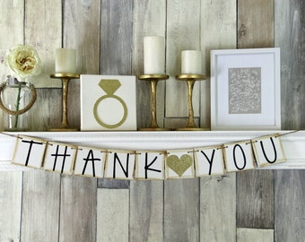 Thank you Banner, Wedding Banner, Thank you Sign, Wedding Photo Prop, Wedding Thank You, Wedding Sign, Thank you, Thank you garland, Gold