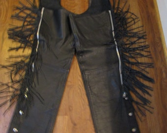 zippers, fringe,studs, laces, ladies leather motorcycle chaps sz small PRICE REDUCTION