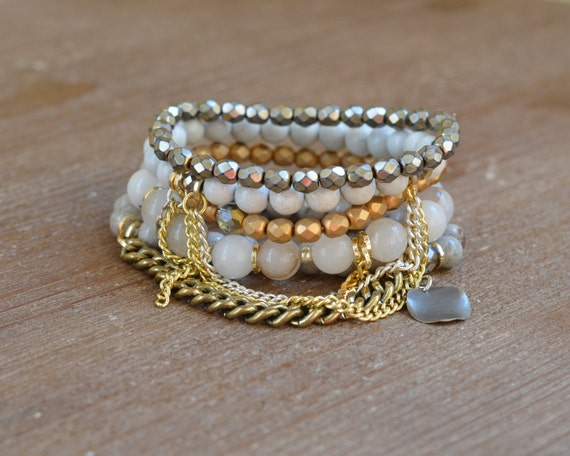 The Metallic Stack - Mixed Metal Bracelet - Beaded Stretch Bracelet Stack - Gold and Silver Bracelet - Arm Candy Bracelets - Charm Bracelet