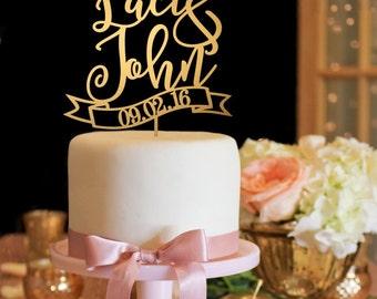 Wedding Cake Topper - First Names Cake Topper - Gold Cake Topper