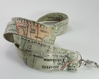 Map Lanyard, Fabric Lanyard, Teacher Gifts, Cartography Badge Holder, Key Holder, Accessories, World Map, Travel, Vintage Look, Topographer