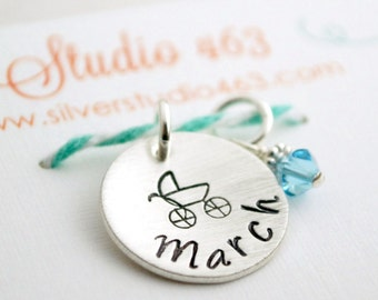 Pregnancy Charm  - Announce Pregnancy  - PregnancyPendant - Due Date Gift Custom Hand Stamped Sterling Silver Jewelry for Women