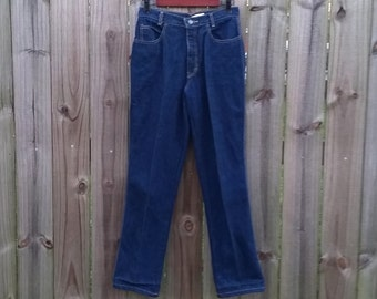 M Medium Vintage 80s 90s Calvin Klein High Rise Full Cut Mom Jeans Dark Blue Denim