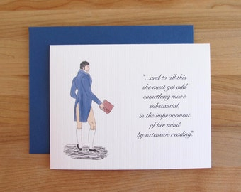"""Mr. Darcy Pride & Prejudice Quote Birthday Card / """"The Improvement Of Her Mind By Extensive Reading..."""" / funny sweet birthday card for her"""