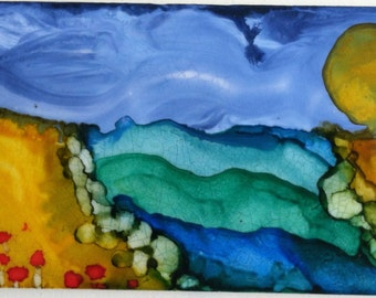 """Poppies by the Sea, Alcohol Ink on Tile, 3"""" x6"""""""