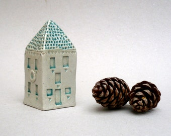 Tower House , Miniature House, Aqua And White , Ceramic Sculpture , Collectible House