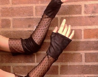 Fingerless gloves in black - elastic faux leather and plumeti mesh size M