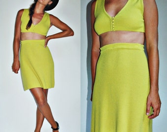 1960s Cashmere Skirt and Crop Top Chartreuse Two Piece Set