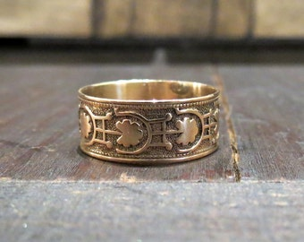 Victorian Wide Patterned Band 10k c. 1880, Antique Wedding Band, Vintage Wedding Band, Cigar Band, Antique Ring, Victorian Ring