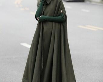 green maxi wool cape, maxi flared wool cloak, winter coat jacket, cashmere wool coat jacket, green cloak. cloak cape, wool poncho, wool coat