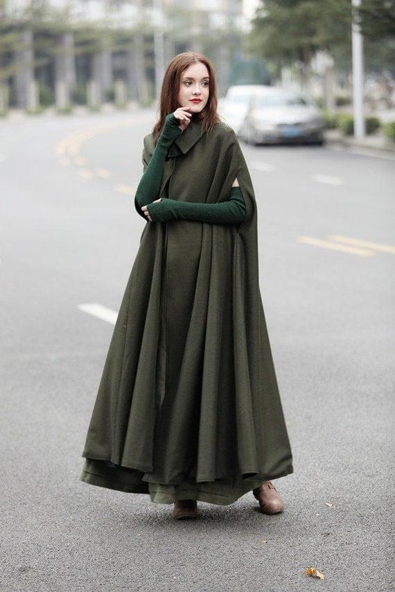 Green Maxi Wool Cape Maxi Flared Wool Cloak Winter Coat