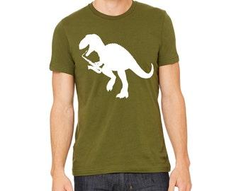 Dinosaur Shirt   tshirt   T-Rex Playing Saxophone   Men's Graphic T-shirts  