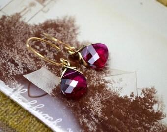 Red Crystal Earrings, Ruby Red Swarovski Drop Earrings, Gold Vermeil Evening Jewelry, Dangle Earrings Elegant Jewelry, Mothers Day Wife Gift