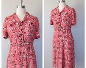 40s cotton dress size large / 40s novelty print dress