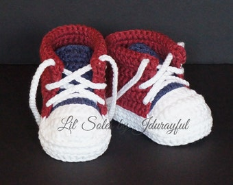 Baby Tennis Shoes, Baby Sneakers, Crochet Baby Shoes, Red White & Blue, Baby Shower Gift, Baby Converse, Baby Chuck Taylors, Red Baby Shoes