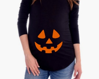 Halloween Pumpkin Face Maternity Shirt / Maternity Shirt  / Jack O Lantern Maternity / Halloween  Maternity Shirt / Funny Maternity Shirt