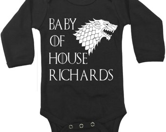 Game of Thrones PERSONALIZED Onesie / Your Family Name Personalized Game of Thrones Baby Clothes / Game of Thrones Baby Boy or Girl Shower