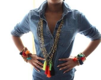 Orange Gold Beaded Long Tassel Necklace