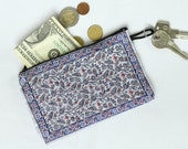 Tulip vine, Tulip vine fabric, Fabric coin purse, Turkish pouch, Zipper coin purse, Change wallet, Boho coin purse