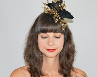 Fascinator Headpiece with Feathery Gold Foliage and Black Large Butterfly, Statement Cocktail Party Hat, Occasion Fashion Headwear