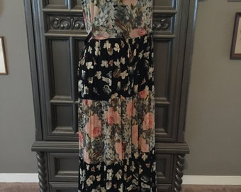 90s Rayon Floral Tiered Summer Hippie Dress