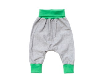 Baby harem pants organic linen, baby boy summer, grey sarouel pants, light linen trousers