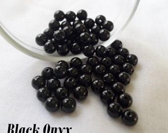 6mm Black Onyx Gemstone Beads, Loose Beads ~ Pack of 10
