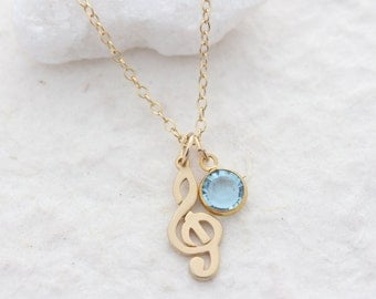 gold treble clef necklace, custom Birthstone . small gold musical note Jewelry . treble clef charms. dainty necklace, musical