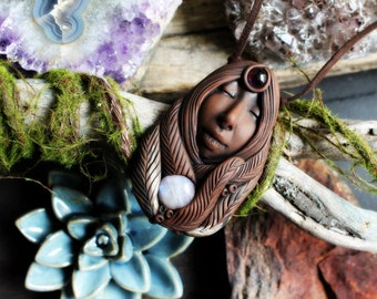 Clay Goddess Necklace with Amethyst and Moonstone.