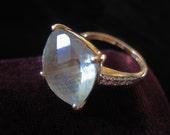 14k Stone Ring Diamonds Light Green Peridot Vintage Solid Gold Diamond Ring Fourteen Karat Gemstone Size 7