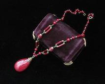 Antique Carnelian Necklace Victorian Teardrop Pendant Red Stone Beads Jasper Cinnabar  Vintage Stones Beaded Dark Gemstone