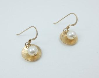 1/2 inch Bead & Disc 14k Gold Fill Earrings