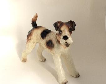 Vintage Fox Terrier Porcelain Figurine, Realistic