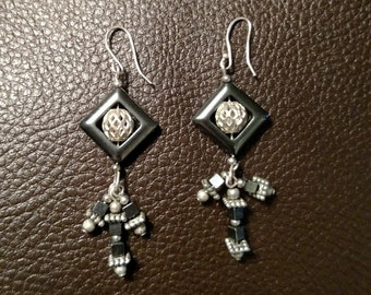Sterling Silver & Hematite Earring Pair