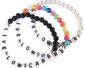 LIVE LOW CARB Acrylic 6mm Bead Bracelet - 16 Colours! - Elastic with White Letter Beads Lowcarb Lchf Paleo Keto Zero Carbs No Carb