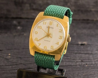 Vintage Wostok mens watch, gold plated vintage russian watch, vintage mens watch, soviet mechanical watch, ussr cccp