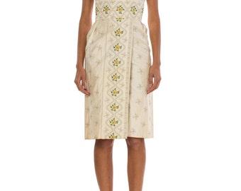Vintage 1950s White Floral Embroidered Sleeveless Midi Dress  Size: XS