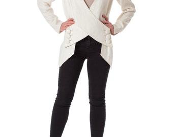 1990s Minimal White Linen Jacket SIZE: S/M, 4/6