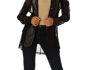 1980s Vintage Italian Black Leather and Mesh Blazer SIZE: S/M, 6