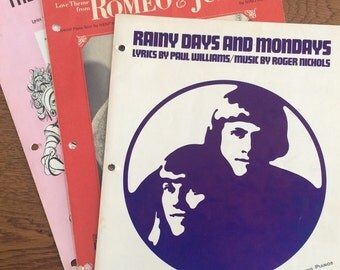 Vintage Sheet Music, Romeo and Juliet, Rainy Days and Mondays, Impossible Dream
