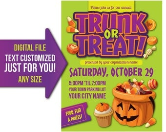 Trunk or Treat, Halloween, flyer, invite, custom, personalized, printable, poster, customized, trick or treat, poster, pta, church, school