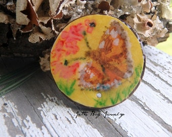 Painted Lady Butterfly- art resin pendant original butterfly painting.  painted lady butterfly. coconut bead. ooak. Jettabugjewelry