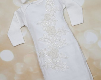 Infant Baby Girl Gown Set White Vintage Lace and Sequence Gown  and Matching Hat