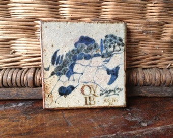 19th Century French Ceramic Tile, Terra Cotta Pottery Trivet, Handpainted Shades of Blue Landscape Countryside Design, French Folk Art