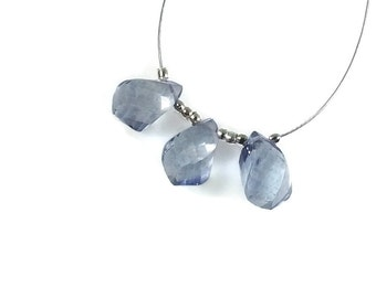 Tanzanite Blue Quartz Twisted Teardrop Briolettes, 11mm Gemstones, Light Blue Quartz Step Faceted Pear Beads, Sky Blue Faceted Briolettes