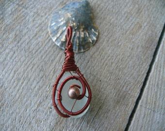 Sea glass pendant, red-brown copper wire, wire wrapped pendant, genuine sea glass aqua sea foam, gift pendant, metal beads jewelry