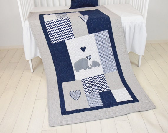 Elephant Baby Blanket, Blue Gray Navy Quilt,  Crib Bedding, Chevron  Elephant Blanket, Grey Safari Nursery
