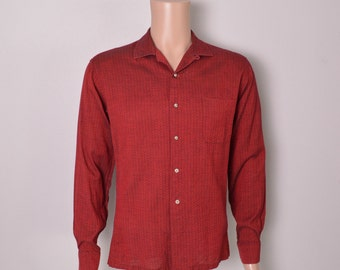 Vintage 1950s 50s Men's Shirt Red Designer Lilly Daché