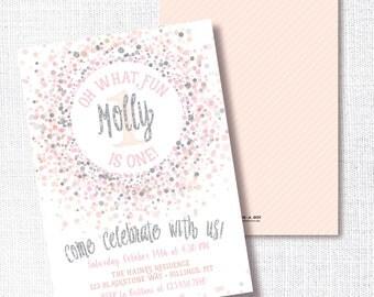 PINK SILVER CONFETTI oh what fun! first birthday invitation pink and silver glitter champagne blush confetti birthday party invite